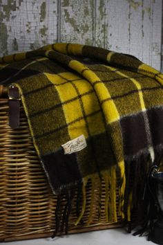 Vintage Wool Plaid Blanket / Faribault Woolen by SouthernGilt Tartan Scarf, Plaid Blanket, Tweed, Wooly Bully, Cooling Blanket, Vintage Blanket, Plaid Fashion, Cozy Blankets, Vintage Wool