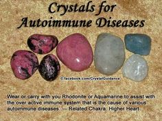 Autoimmune diseases are typically associated with the Higher Heart chakra. Wear or carry with you Rhodonite or Aquamarine to assist with the. Crystal Uses, Crystal Magic, Crystal Healing Stones, Crystal Cluster, Quartz Crystal, Chakra Crystals, Crystals And Gemstones, Stones And Crystals, Gem Stones