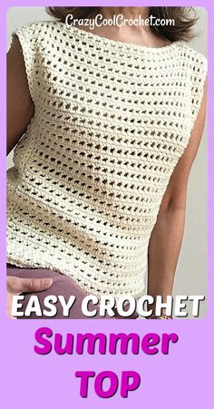 FREE crochet pattern and VIDEO for this easy breezy crochet summer top Very easy for crochet beginners freecrochetpatterns crochetsummertops easycrochet crochetforbeginners crochetcotton crochetfreepatterns crazycoolcrochet Débardeurs Au Crochet, Crochet Tunic Pattern, Pull Crochet, Crochet Shirt, Crochet Woman, Easy Crochet Patterns, Crochet Edgings, Knitting Patterns, Crochet Vests