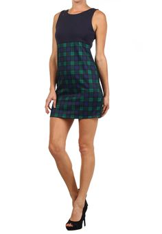 Plaid dress with zipper detail at shoulder $52