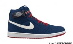 low priced a86f3 a521a Air Jordan 1 High Strap  Midnight Navy Varsity Red-Sail