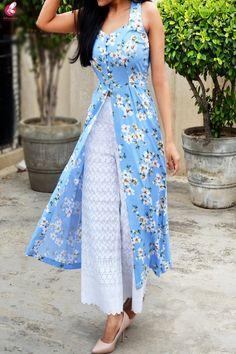 Buy Multicolored Printed Front Slit Sleeveless Crepe Kurti Online in India Indian Dresses, Indian Outfits, Stylish Dresses, Fashion Dresses, Stylish Kurtis Design, Kurta Designs Women, Latest Kurti Designs, Kurta Neck Design, Kurti Designs Party Wear