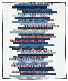 """Stitch an easy-to-sew quilt using a variety of precut 2-1/2""""-wide strips.  Blue prints from the Clermont Farms collection by Minick and Simpson for Moda  Fabrics [1] are combined with chalk-white fabric to make a patriotic quilt.   [1] http://www.modafabrics.com"""