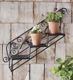 Hanging Staircase Plant Shelf from Plow & Hearth on shop.CatalogSpree.com, your personal digital mall.