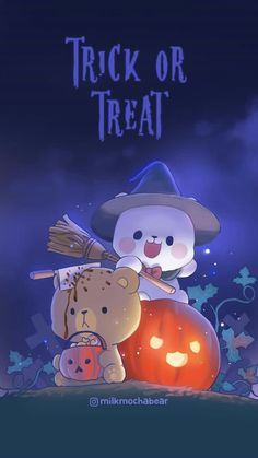 Milk and Mocha - Halloween Bear Wallpaper, Kawaii Wallpaper, Cute Wallpaper Backgrounds, Wallpaper Iphone Cute, Cute Cartoon Wallpapers, Cute Bear Drawings, Cute Kawaii Drawings, Kawaii Art, Bear Halloween