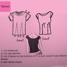T-shirt refashion - yet another way to redo some over-sized t-shirts into something more fitted and flattering. by latoya