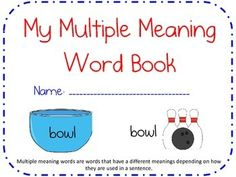 This document gives you and your students several ways to become more familiar with Multiple Meaning Words.  This document includes a work page where the students are given a multiple meaning word and are asked to draw a picture of each of the meanings, as well as, add a sentence or a definition of each of the different meanings.