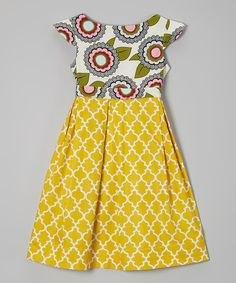 Another great find on #zulily! KALMcollection Yellow & White Floral A-Line Dress - Infant, Toddler & Girls by KALMcollection #zulilyfinds