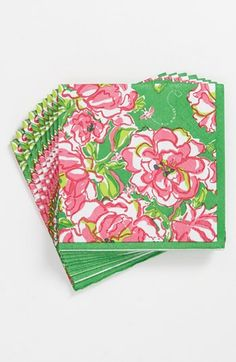 Perfect for a garden party: Lilly Pulitzer floral print napkins.