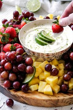 bestKey Lime Cheesecake Fruit Dip is smooth, creamy and the BEST way to eat fruit! Addictingly delicious make ahead snack or appetizer. ♥ Carlsbad Cravings