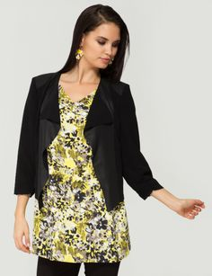 Featuring a coated chiffon, this drape detail jacket will dress up any outfit. It has 3/4 sleeves.