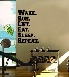 Wake Run Lift Eat Sleep Repeat Gym Fitness Quote Weights Health Design Decal Sticker Wall Vinyl Art Decor Home