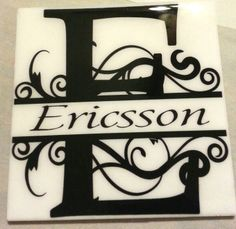 Two lovely Tiles - A great way to decorate your home or office - Makes a great Wedding or Anniversary Gift! A Family Plaque that features the year your family began or a Tile that Features the Initial of your last name with your names inside -The tile measures 6x6 inches square has a hanger on the back. Each Plaque has your Last Name above the word Family, then the Year your family was established. The Background is a shadow of the First letter in your last name. There is a detailed border…
