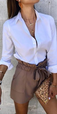 Cute Casual Outfits, Short Outfits, Stylish Outfits, Classy Shorts Outfits, High Waisted Shorts Outfit, Shorts Outfits Women, Dressy Shorts, Casual Chic, Looks Chic