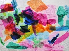 Tissue paper stained glass on wax paper