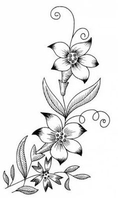 Flower Sketch Pencil, Flower Sketches, Colouring Pics, Flower Coloring Pages, Border Embroidery Designs, Hand Embroidery, Dog Tattoos, Tattoo Drawings, Cute Owl Tattoo