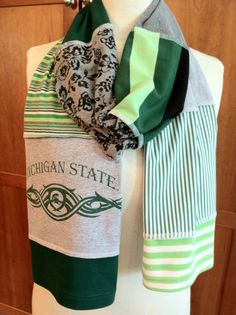 UPCYCLED t-shirt scarf... Michigan State University... MSU... Spartans... green, lime, gray & white