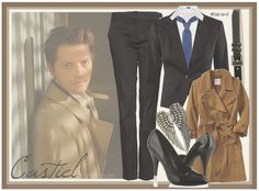 Castiel | Supernatural by chelsealauren10   Old Navy double breasted trench coat, $43H M cotton blazer, £30Mango chino pants, £28Forever 21 high heel shoes, $23Silver earrings, $16