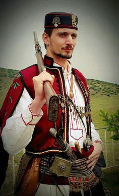 "Bulgarian in traditional costume from the region of ""Makedonia""."