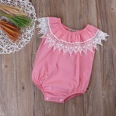 Baby Girl's Sleeveless Lace Collar Romper (Pink or Blue)