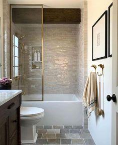 Bathtub Shower Combo, Bathroom Tub Shower, Bathroom Kids, Bathroom Renos, Small Bathroom, Half Wall Shower, Master Bathroom, Vanity Bathroom, Guest Bathrooms