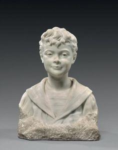 Hippolyte Marius GALY (1847-1929) Buste de jeune garçon en tenue de marin Sculpture en marbre signée et datée «1909» sur la base en bas à gauche. 48,5 x 35 x 22 cm. - Lucien Paris - 19/11/2017