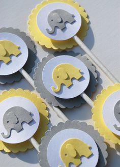 Yellow and Gray Elephant Cupcake Toppers by iheartcupcakestoo, $9.00