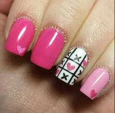 #pink #white x's & #hearts #nails