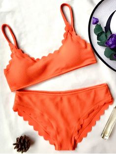 Scalloped Bralette Bikini Set - ORANGE M