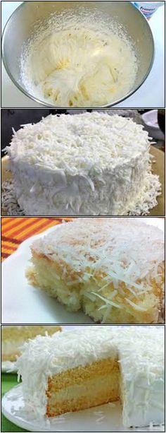 Bolo de coco nevado Fica Lindo!! VEJA AQUI>>>>Bater as claras em neve em picos suave. Adicionar o açúcar (I), a cremor #receita#bolo#torta#doce#sobremesa#aniversario#pudim#mousse#pave#Cheesecake#chocolate#confeitaria