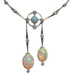 Fine Opal, Diamond & Platinum Art Deco Necklace