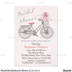 Terrier on a pink bicycle baby shower invitation pinterest blissful bridal bicycle shower card cute modern retro image of a bike with a basketful of flowers pink and blue pastel gorgeous filmwisefo
