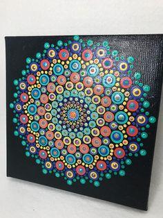 Mandala original painting on canvas, dotilism, dot painting, meditation art Dot Art Painting, Painting Patterns, Acrylic Painting Canvas, Canvas Art, Doodle, Black Canvas Paintings, Zentangle, Mandalas Painting, Meditation Art