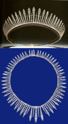 Fringe tiara belonging to Mary, Princess Royal (daughter of George V and Queen Mary). This can be taken from the frame and worn as a necklace. English, c 1890