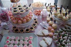 Desert Table for Kristen's bridal shower.   Theme was PINK