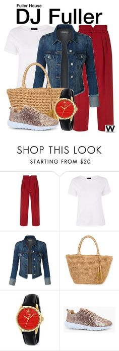 """""""Fuller House"""" by wearwhatyouwatch ❤ liked on Polyvore featuring RED Valentino, Topshop, Sun N' Sand, Gucci, Boohoo, television and wearwhatyouwatch"""