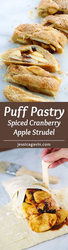 Spiced Cranberry Apple Strudel - This warm, crisp and flaky strudel recipe is a real crowd-pleaser! Tender puff pastry is braided and filled with cinnamon apples. | jessicagavin.com