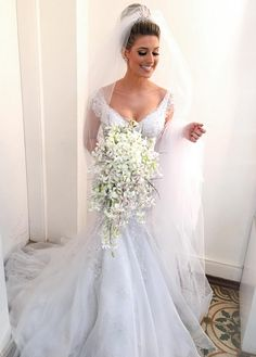 Stunning Mermaid V neck Wedding Dress with Cap #BridalDresses #WeddingGowns #Wedding #WeddingDresses