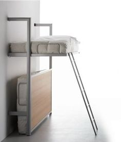 Foldaway Bunk Bed Heres our stylish folding bunk bed. A great solution for a guest bedroom or a dual purpose area. Contract quality Designer wall bed Adheres to UK regs Easy to use Bunk Bed Wall, Bunk Beds With Stairs, Cool Bunk Beds, Kids Bunk Beds, Wall Beds, Murphy Bunk Beds, Bunk Bed Plans, Loft Spaces, Small Spaces