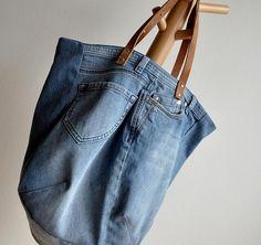 große Jeanstasche mit Lederriemen selber nähen