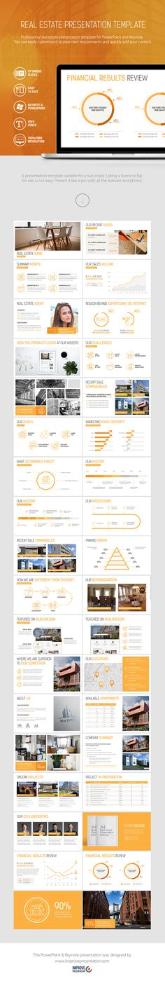 A presentation template suitable for a real estate. Listing a home or flat for sale is not easy. Present it like a pro with all the features and photos. #realestate #presentation