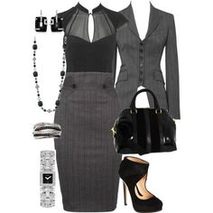 Business Attire A fashion look from December 2011 featuring shirt blouse, karen millen jackets and panel pencil skirt. Browse and shop related looks. Stylish Work Outfits, Summer Work Outfits, Office Outfits, Office Wear, Office Attire, Office Uniform, Uniform Ideas, Stylish Office, Casual Office