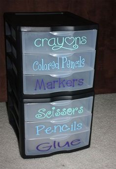These Organization Ideas are the best and so easy! Perfect for home office, craft room or homeschool organization!