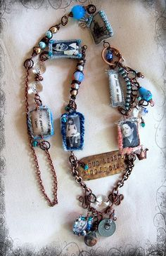 necklace tribute by Lilibulle Jewelry Crafts, Jewelry Art, Vintage Jewelry, Handmade Jewelry, Jewelry Design, Textile Jewelry, Fabric Jewelry, Textiles, Found Object Jewelry