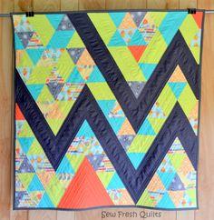 Baby quilt Boy quilt modern patchwork chevron by SewFreshQuilts, $210.00
