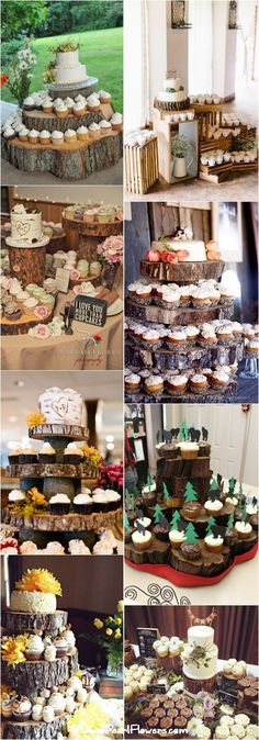 Rustic fall wedding ideas - Rustic country wedding cupcakes & stands / www. Country Wedding Cupcakes, Rustic Cupcakes, Cupcake Stand Wedding, Wedding Cake Rustic, Beautiful Wedding Cakes, Cupcakes Fall, Wood Cupcake Stand, Diy Cupcake, Wedding Country
