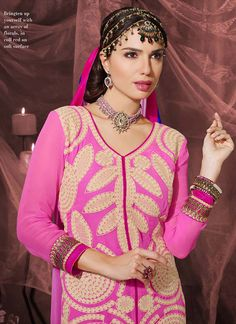 Pink Resham Work Georgette Churidar Salwar Suit, Product Code :5999, shop now http://www.sareesaga.com/pink-resham-work-georgette-churidar-salwar-suit-5999  Email :support@sareesaga.com What's App or Call : +91-9825192886