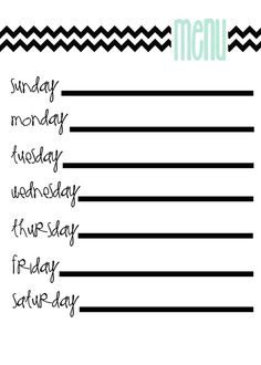 Meal planning free printable.  Frame and use dry erase markers on glass.