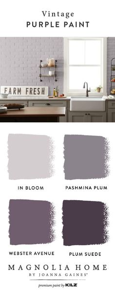 The timeless colors of the Magnolia Home by Joanna Gaines® Paint collection are ., The timeless colors of the Magnolia Home by Joanna Gaines® Paint collection are always a nice choi, Modern Paint Colors, Bedroom Paint Colors, Paint Colors For Home, House Colors, Magnolia Paint Colors, Purple Paint Colors, Purple Bathroom Paint, Purple Kitchen Walls, Purple Wall Paint