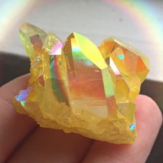 Sunshine Yellow Magic Aura Quartz Crystal Cluster | dreamclub.etsy.com